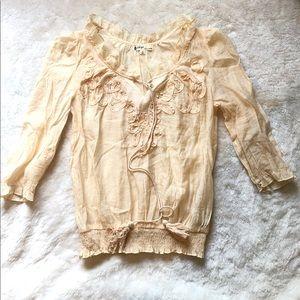 Tops - Sheer 3/4 sleeve tee shirt top